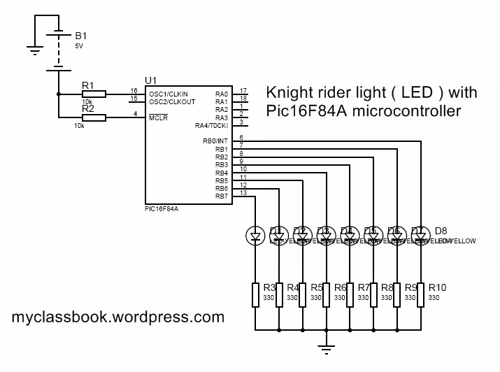 knight rider circuit using PIC 16F84AP