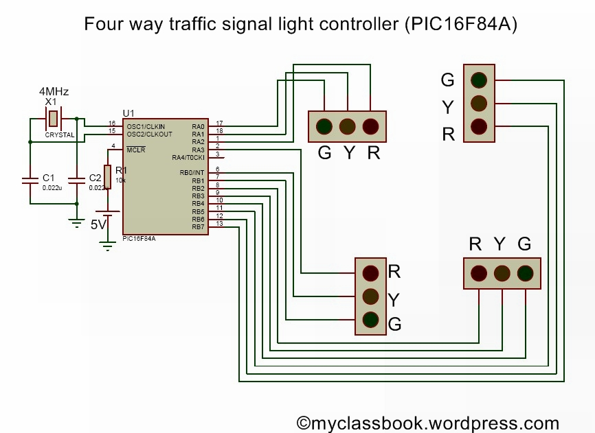 four way traffic contoll using pic16f84a microcontroller automatic street light circuit diagram myclassbook traffic light wiring diagram at mifinder.co