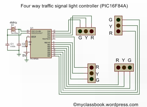 Four-way traffic controller using PIC16F84A microcontroller
