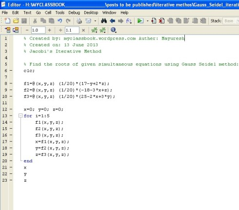 MATLAB code for Gauss Seidel method