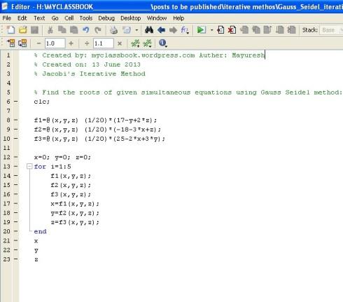 MATLAB code for Gauss Seidel method