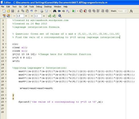 MATLAB code for lagrange interpolation