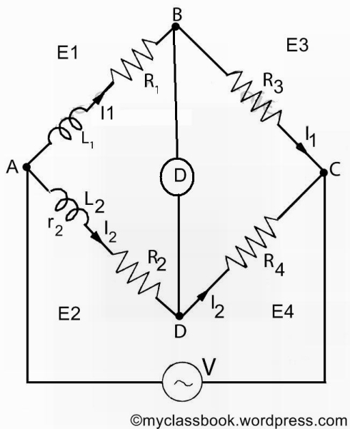 Maxwells inductance bridge for measurement of inductance