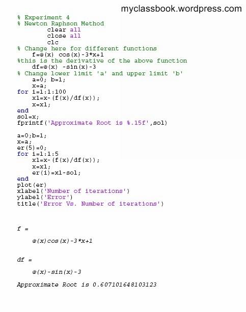 Newton Raphson Method MATLAB program