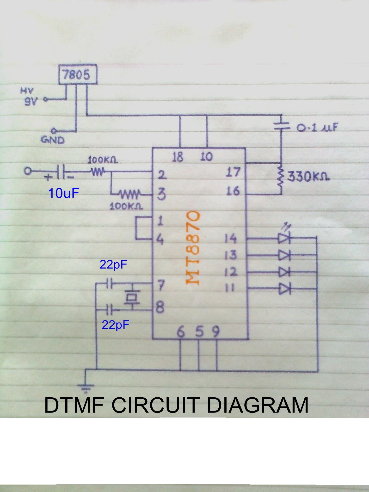 how to make dtmf decoder electronics project myclassbook org rh myclassbook org mt8870 dtmf decoder circuit diagram DTMF Decoder Raspberry Pi