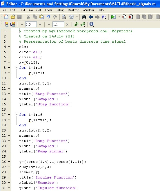 MATLAB program for rep...