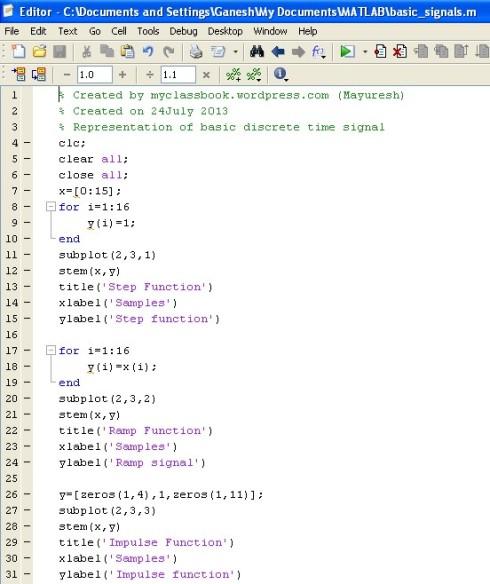 MATLAB program for representation of basic discrete time signals 1