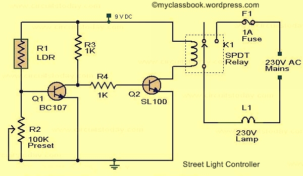 Street Light Circuit Using LDR Electronics Project - MyClassBook