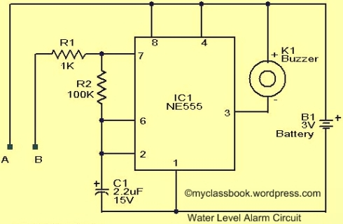 Water Level Indicator Alarm Circuit