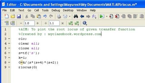 Root locus method Matlab program