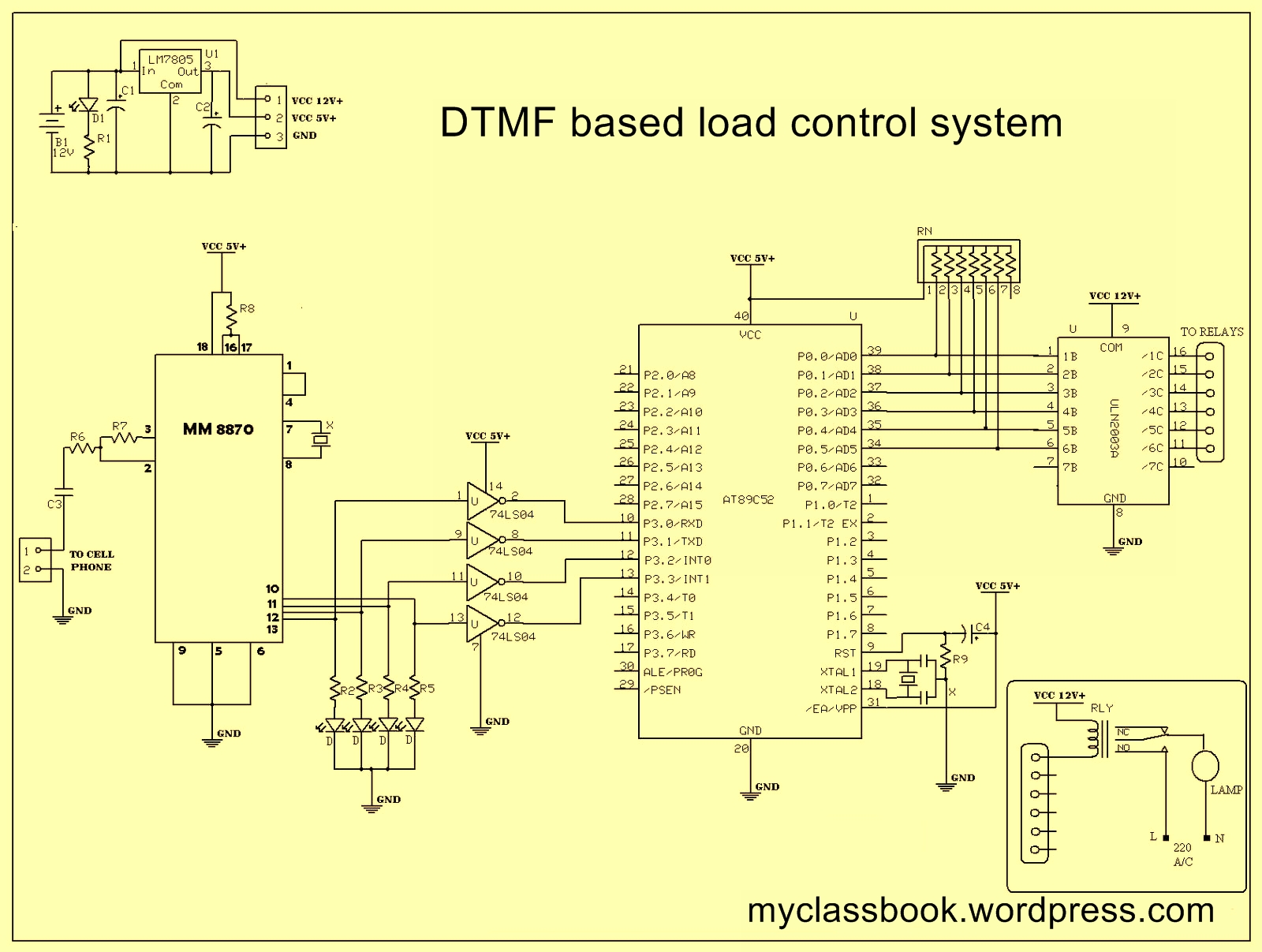 Electronic Project Circuit Diagram Dtmf Electrical Wiring Basic Electronics Projects Based Load Control System Home Automation Rh Myclassbook Org Simple