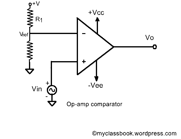 op amp comparator working waveforms and analysis myclassbook rh myclassbook org comparator with hysteresis circuit diagram comparator circuit diagram pdf