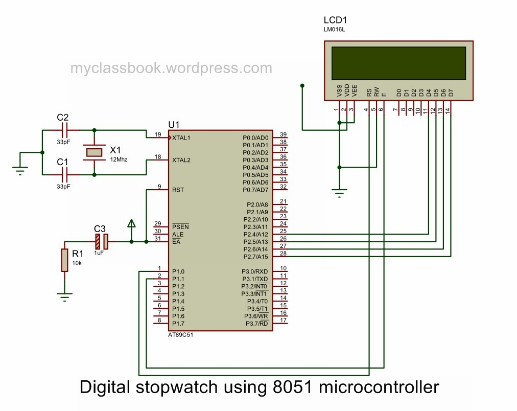 Digital Stopwatch Using 8051 Microcontroller Electronics Project Block Diagram Circuit
