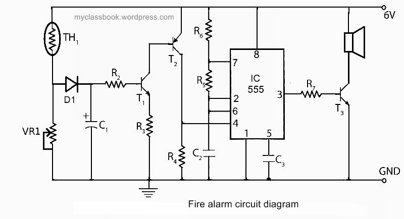 fire alarm circuit using ic555 mini-project