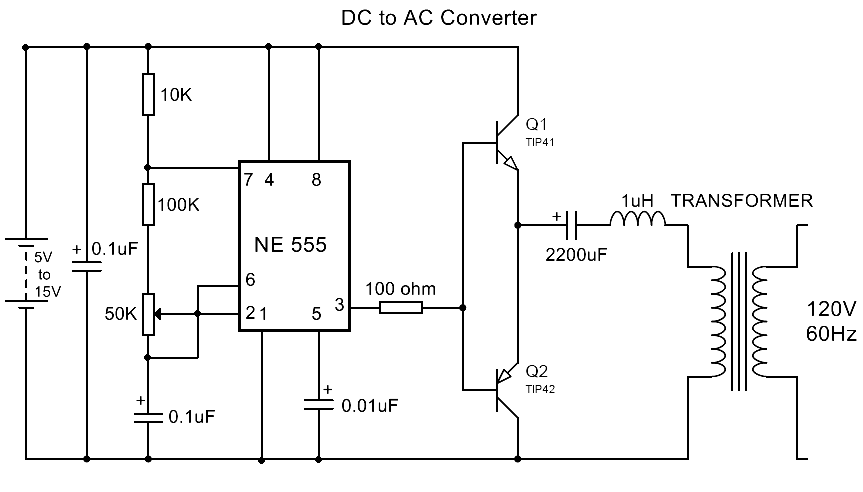 dc to ac converter using ic 555 - electronics mini project