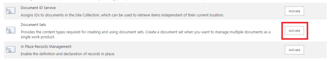 Activate Document Set in Sharepoint 2013