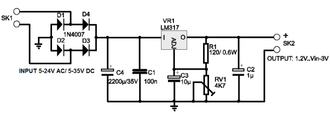 1A Power Supply Circuit Diagram