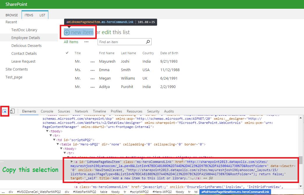 Copy Add New Item Link