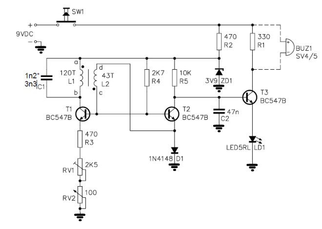 Metal detector circuit diagram