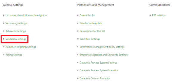 validation settings in sharepoint 2013