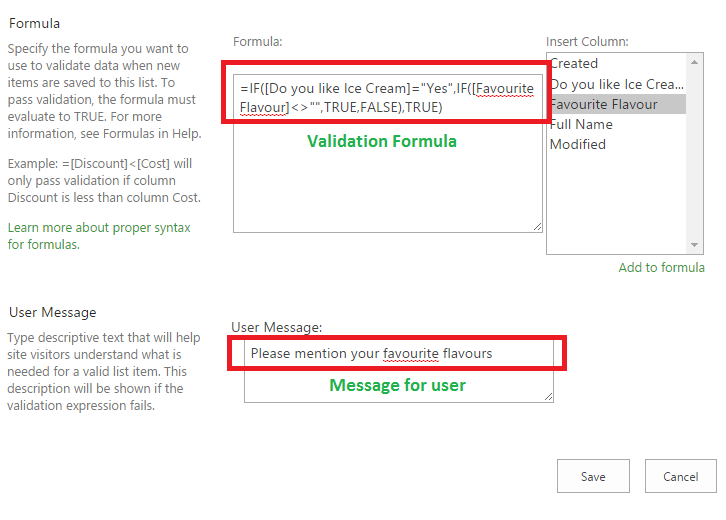 Validation formula in Sharepoint 2013 for Conditionally Mandatory field