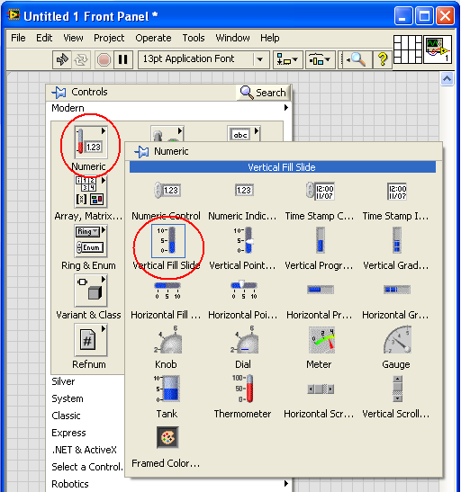 Taking slider in labview