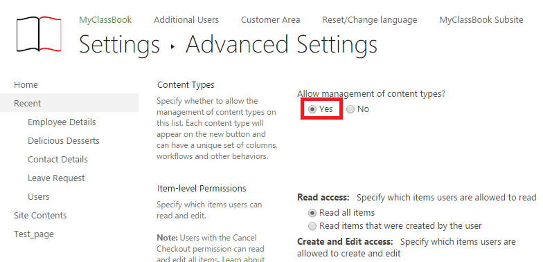 Allow management of content type