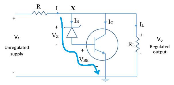 Regulator using transistor and zener diode