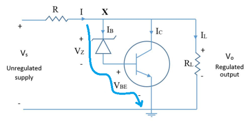 Regulator using transistor and zener diode