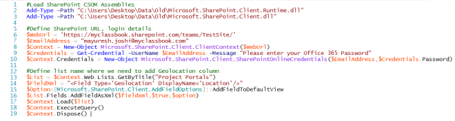 Add geolocation column in sharepoint using powershell